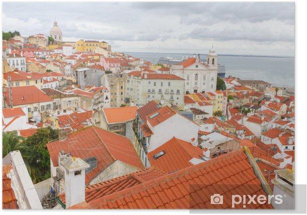Plakat Nad czerwonymi dachami Lisboa, Portugalia - Miasta europejskie