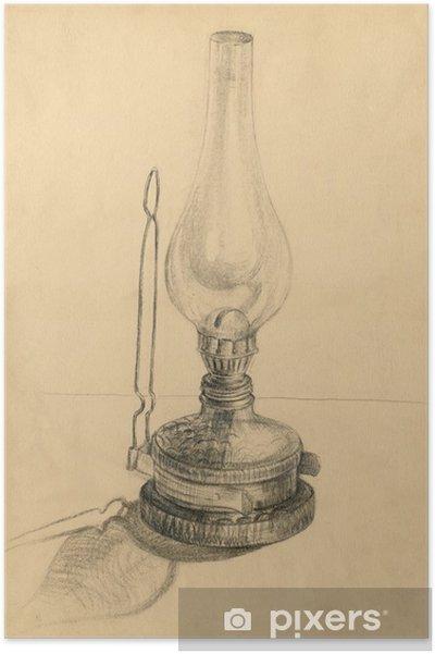 Plakat Naftowa lampa, technika ołówek - Sztuka i twórczość
