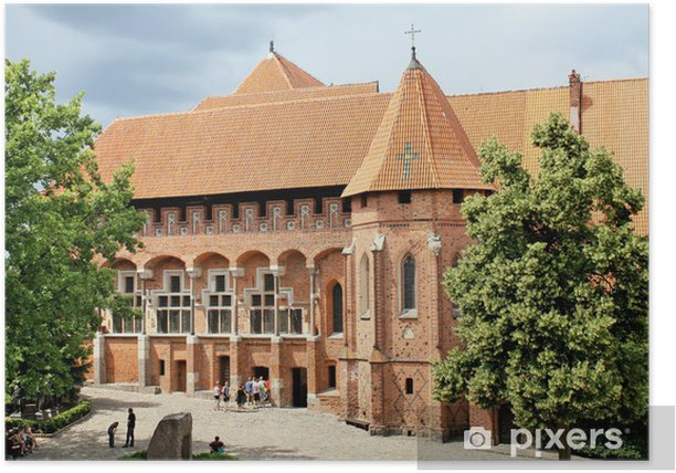 Plakat Największy gotycki zamek-Malbork. Lista Światowego Dziedzictwa UNESCO. - Europa