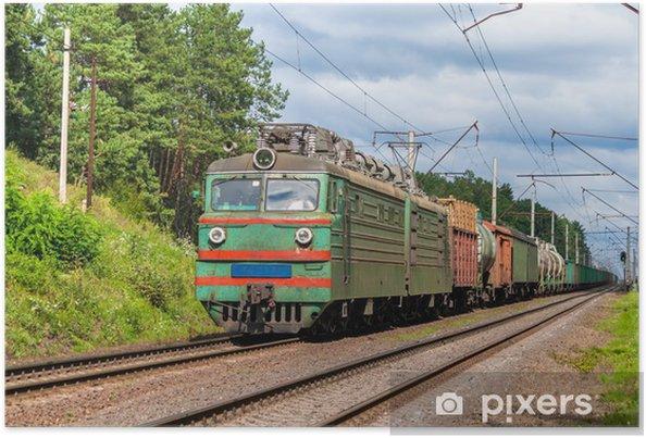 Plakát Nákladní vlak tažený elektrickou lokomotivou staré. Ukrajina - Témata