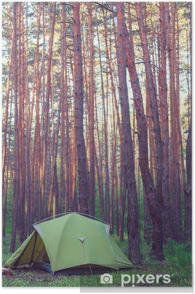 Plakat Namiot w lesie - Wakacje