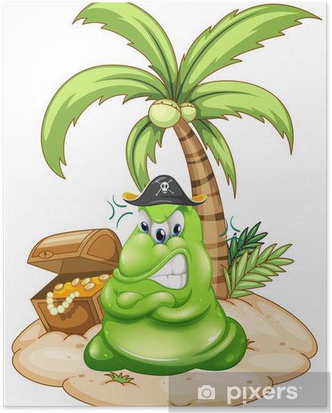 Plakát Naštvaný pirát monster na ostrově s pokladem - Imaginární zvířata