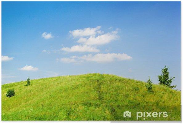 Plakat Nasyconym zielonym wzgórzu - Wakacje