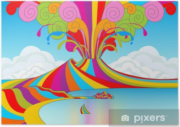 Plakat Neapol i Wezuwiusz w Rainbow Eruption - Góry