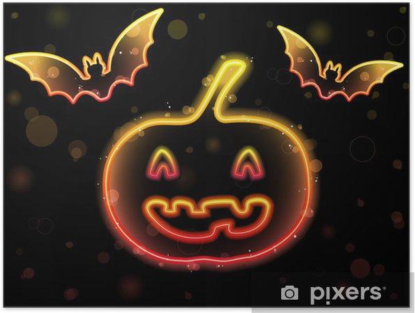 Plakat Neon Background Halloween z Dynia i Nietoperze - Ssaki