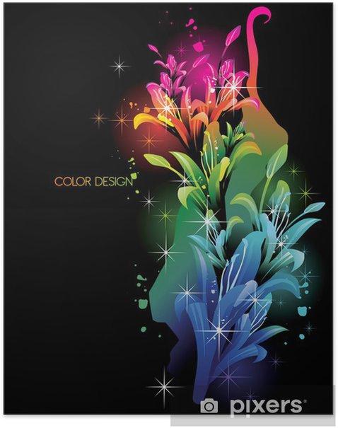 Plakat Neon barwa kwiatów wektor - Inne uczucia