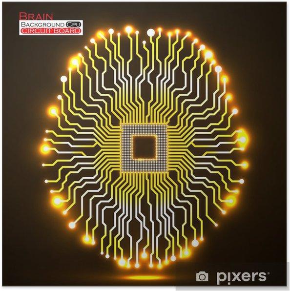 Plakat Neon mózgu. Procesor. Płytka drukowana. Streszczenie technologii tle - Technologia