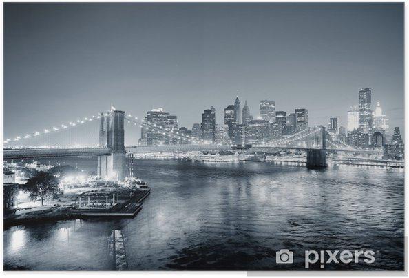 Plakat New York City Manhattan downtown czarno-biały - Style