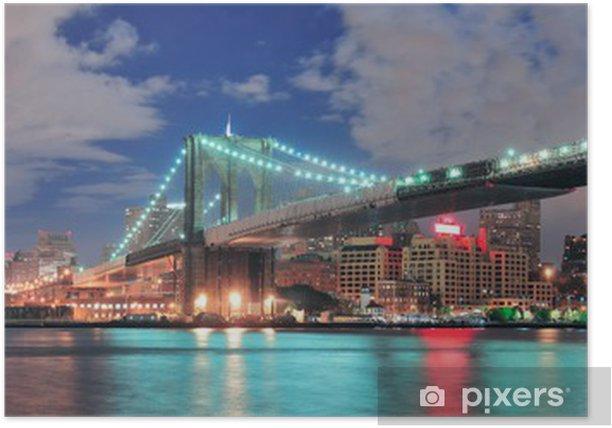 Plakat New York City Manhattan - Brooklyn Bridge