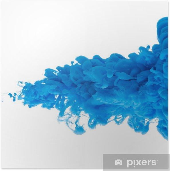 Plakat Niebieska Farba Chmura W Wodzie Na Białym Tle