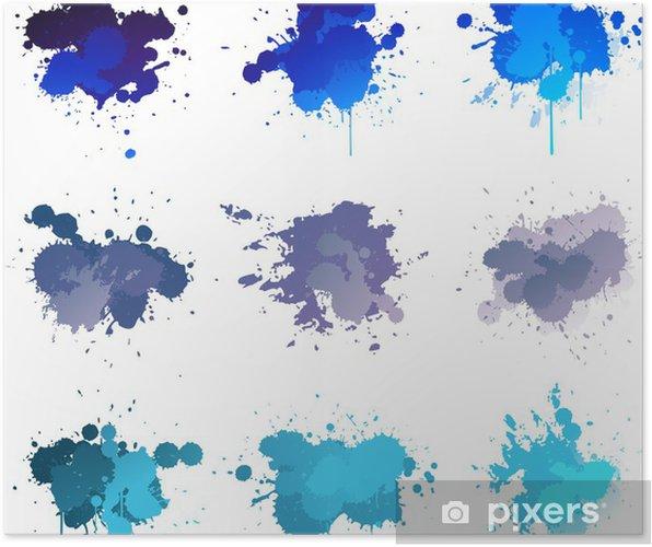 Plakat Niebieska farba splat - Sztuka i twórczość