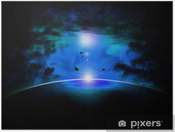 Plakat Niebieska mgławica space - Przestrzeń kosmiczna