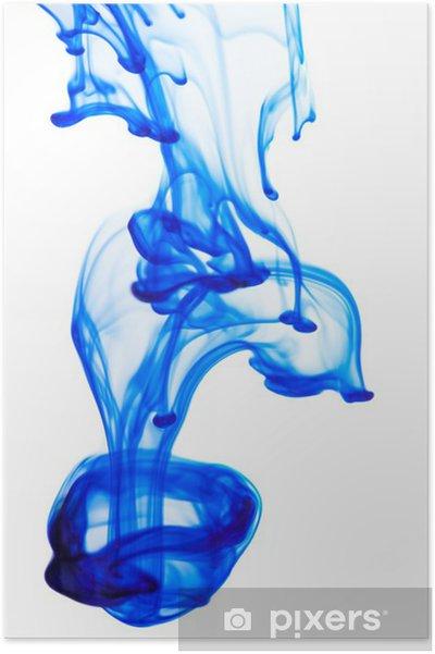 Plakat Niebieski Atrament W Wodzie Na Białym Tle