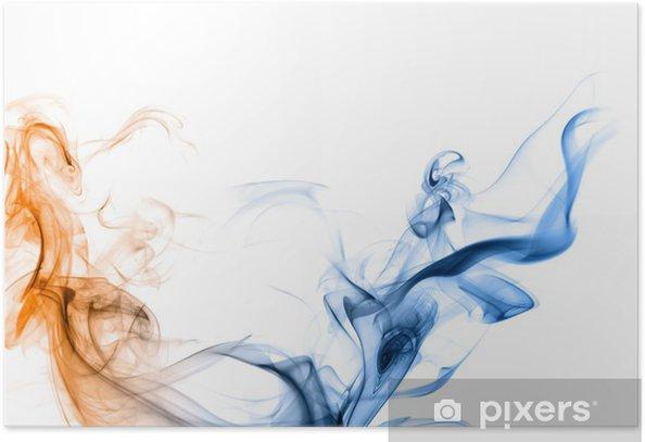 Plakat Niebieski i pomarańczowy dym na białym tle. - Tematy