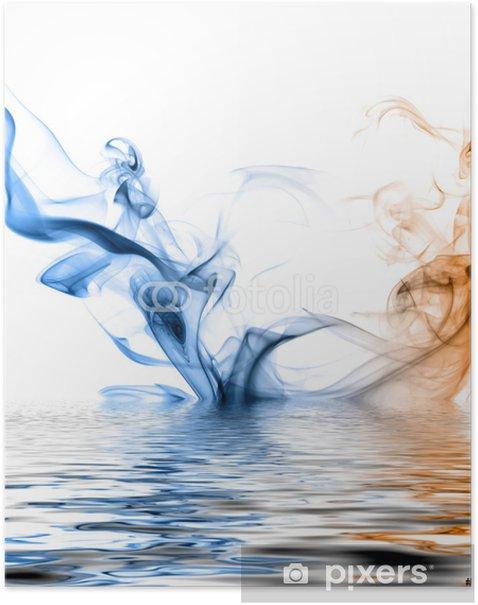 Plakat Niebieski i pomarańczowy dym odbicie na powierzchni wody. - Tematy