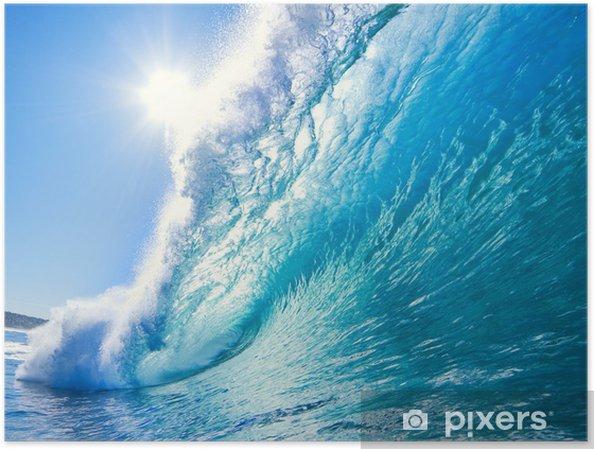 Plakat Niebieski ocean wave - Morze i ocean