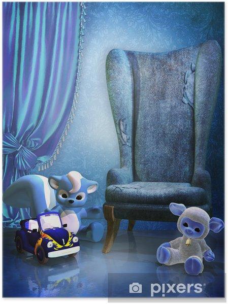 Plakat Niebieski pokój z fotelem i zabawkami - Dom i ogród