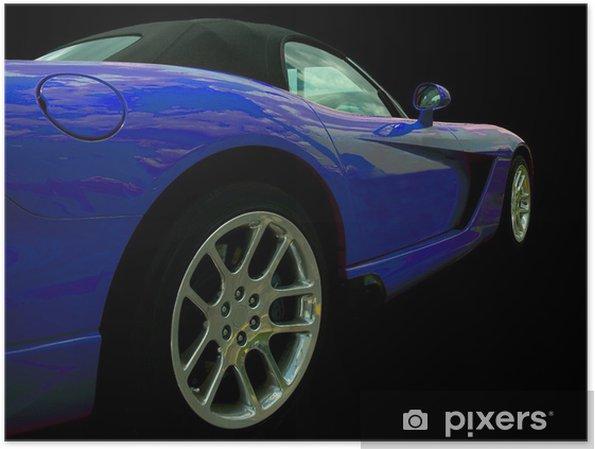 Plakat Niebieski sportowy samochód - Transport drogowy