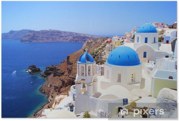 Plakat Niebieskie i białe kościoły wsi Oia, Santorini, Grecja - Tematy