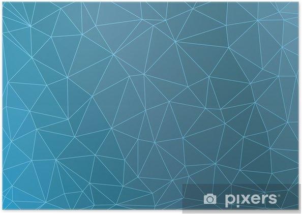 Plakat Niebieskie trójkąty krystalicznie wektor streszczenie tle - Tła
