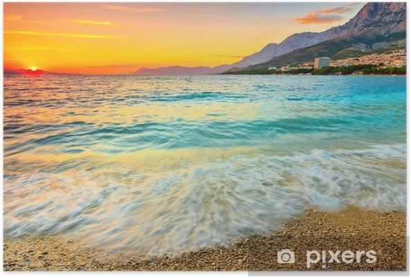 Plakat Niesamowity zachód słońca nad morzem, Makarska, Chorwacja - Tematy