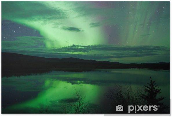 Plakat Night Sky Stars Chmury Northern Lights odzwierciedlenie - Cuda natury