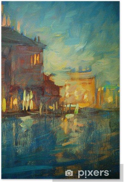 Plakat Noc do Wenecji, malarstwem przez olej na płótnie, ilustracji - Sztuka i twórczość