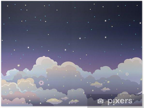 Plakat Noc gwiaździste niebo. - Niebo