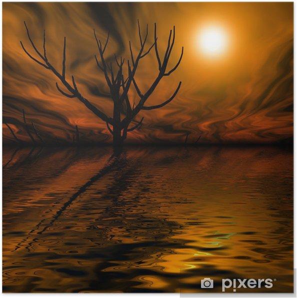 Plakat Noc mglisty krajobraz noc - Ezoteryka