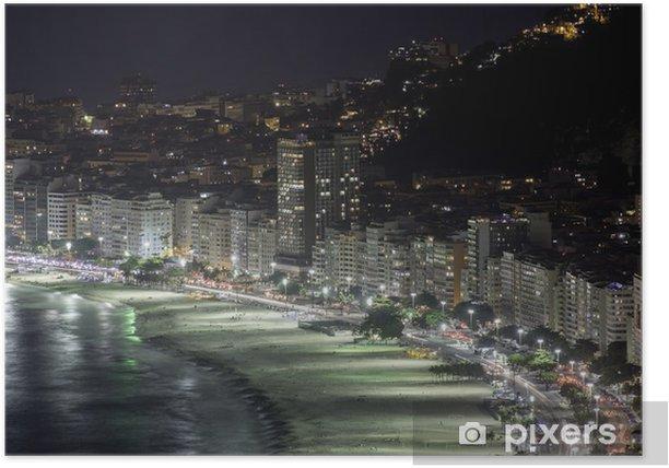 Plakat Noc na plaży Copacabana w Rio de Janeiro - Miasta amerykańskie