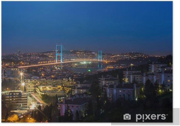 Plakat Noc w Stambule Turcja Bosfor Most - Wakacje