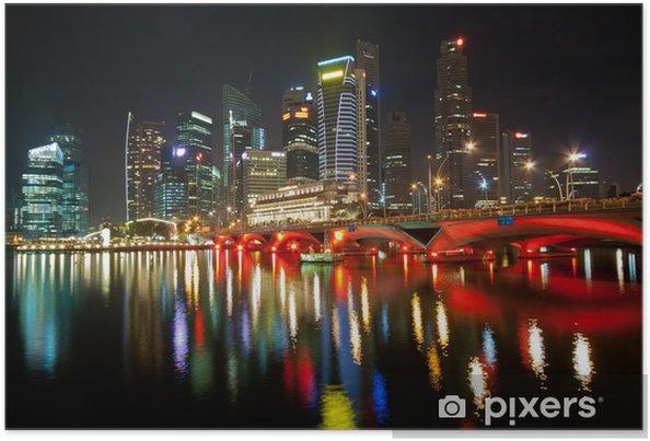 Plakat Nocne światła i refleksji Skyscrapers 'w Singapurze - Tematy