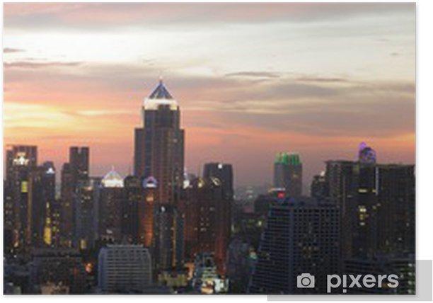 Plakat Nocny widok na Bangkok z obszaru Asok - Pejzaż miejski