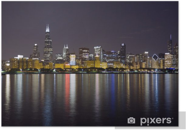 Plakat Nocny widok na centrum Chicago i jeziorze Michigan - Ameryka