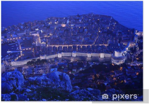 Plakat Nocny widok na Dubrownik, Chorwacja - Europa