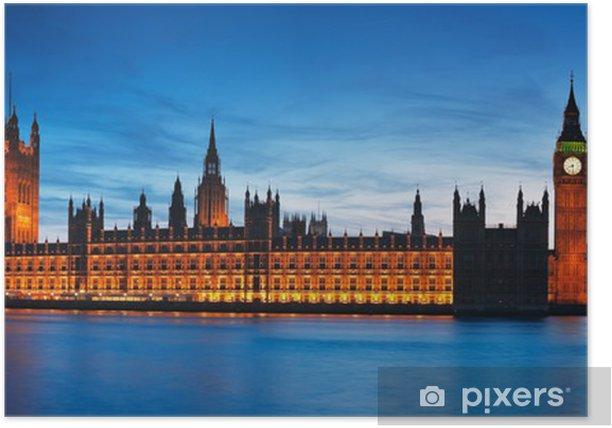 Plakat Nocny widok z izb parlamentu. - Miasta europejskie