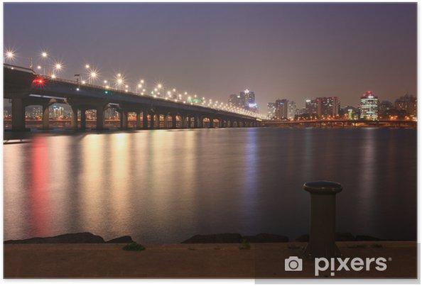 Plakat Nocy Seulu miasta przez rzece han - Tematy