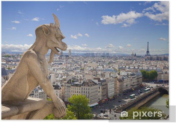 Plakat Notre Dame: Chimera (demon) z widokiem na Wieżę Eiffla - Tematy