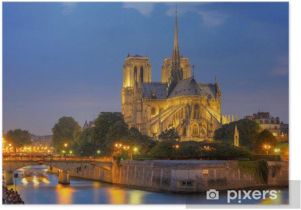 Plakat Notre Dame de Paris w nocy. - Tematy
