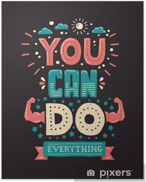 Plakat Nowoczesna płaska hipster ilustracji z frazą Można zrobić - Zasoby graficzne