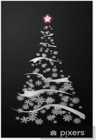 Plakat Nowoczesne inspirowane srebro choinki z płatków śniegu - Święta międzynarodowe
