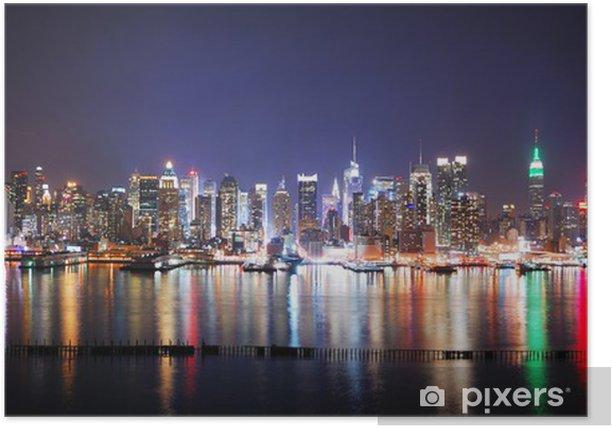 Plakat Nowy jork panorama miasta nocą - Tematy