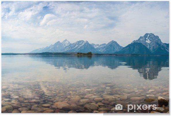 Plakat Obicie górskich szczytów w jeziorze - Góry