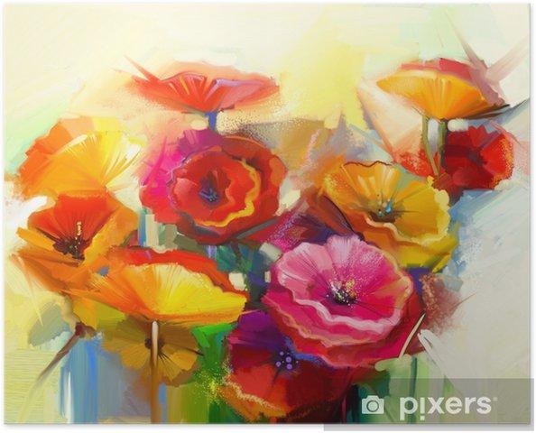 Plakat Obraz olejny martwa natura maku żółtego, różowego i czerwonego - Hobby i rozrywka