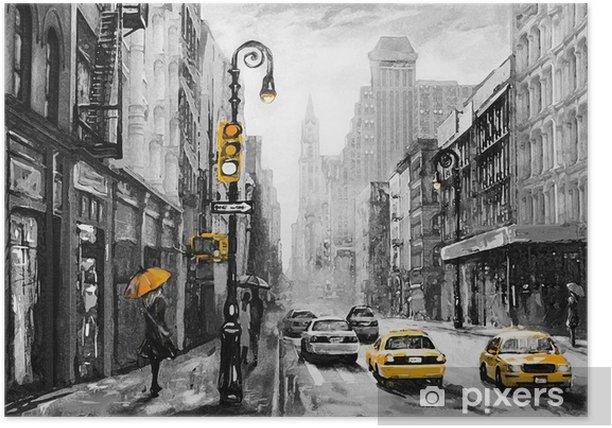Plakat Obraz olejny na płótnie, widok ulicy Nowego Jorku, mężczyzna i kobieta, żółte taksówki, nowoczesne dzieła sztuki, amerykańskie miasto, ilustracja Nowy Jork - Podróże
