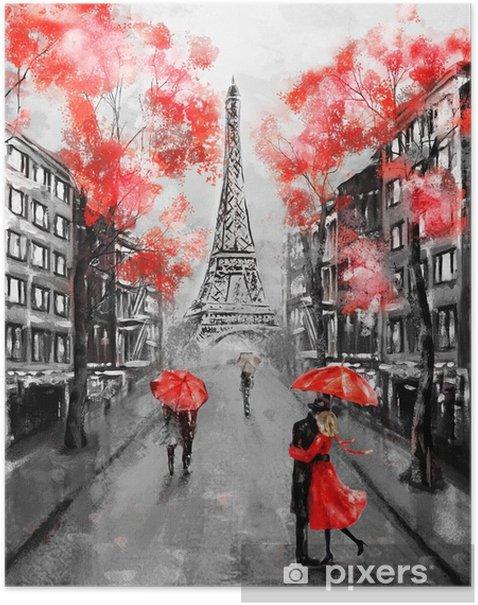 Plakat Obraz olejny, paryż. europejski krajobraz miasta. Francja, tapeta, wieża eiffla. czarny, biały i czerwony, sztuka współczesna. para pod parasolem na ulicy - Podróże