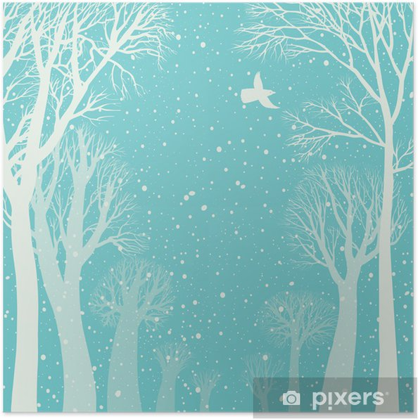 Plakát Obrázek na pozadí zimního lesa - Lesy