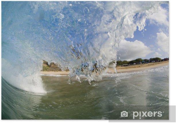 Plakát Obří vlna lámání s modrou oblohou - Prázdniny