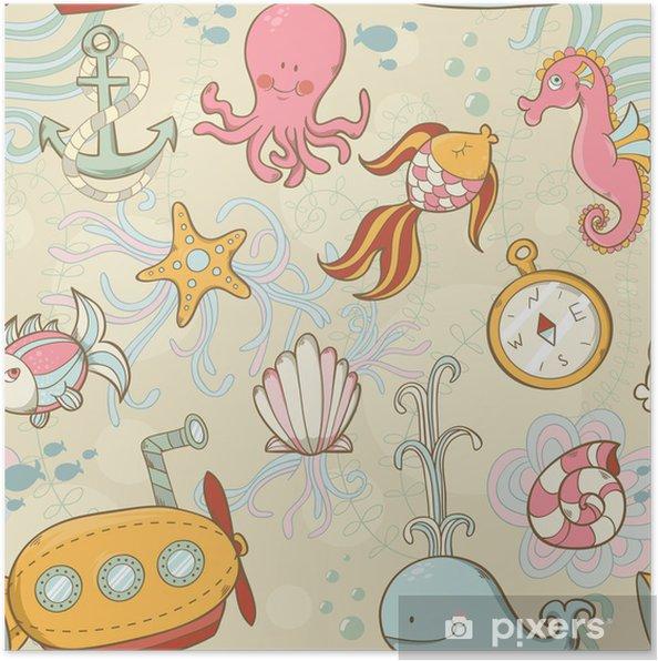 Plakat Obudowy podwodne stwory cute cartoon szwu - Oceania