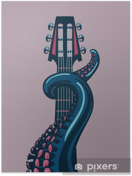 Plakat Octopus wąs trzyma gitarę riff. - Hobby i rozrywka